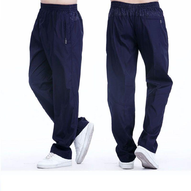 Grandwish Breathable Men's Exercise Pants Elastic Waist Men <font><b>Active</b></font> Pants Outside Physical Trousers Plus Size 3XL,PA096