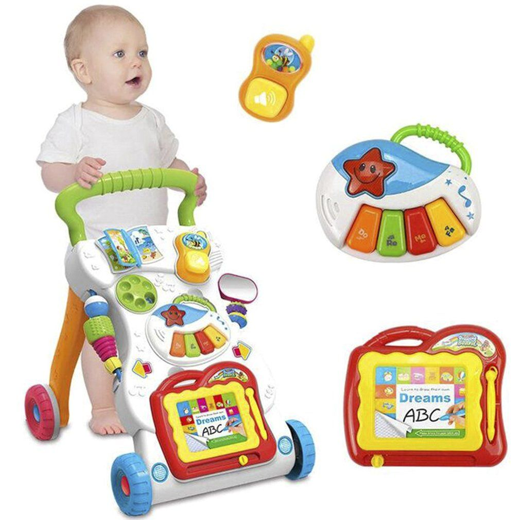 Baby Walker Baby First Steps Car Toddler Trolley Sit-to-Stand Walker for Kid's Early Learning Educational Musical Adjustable H