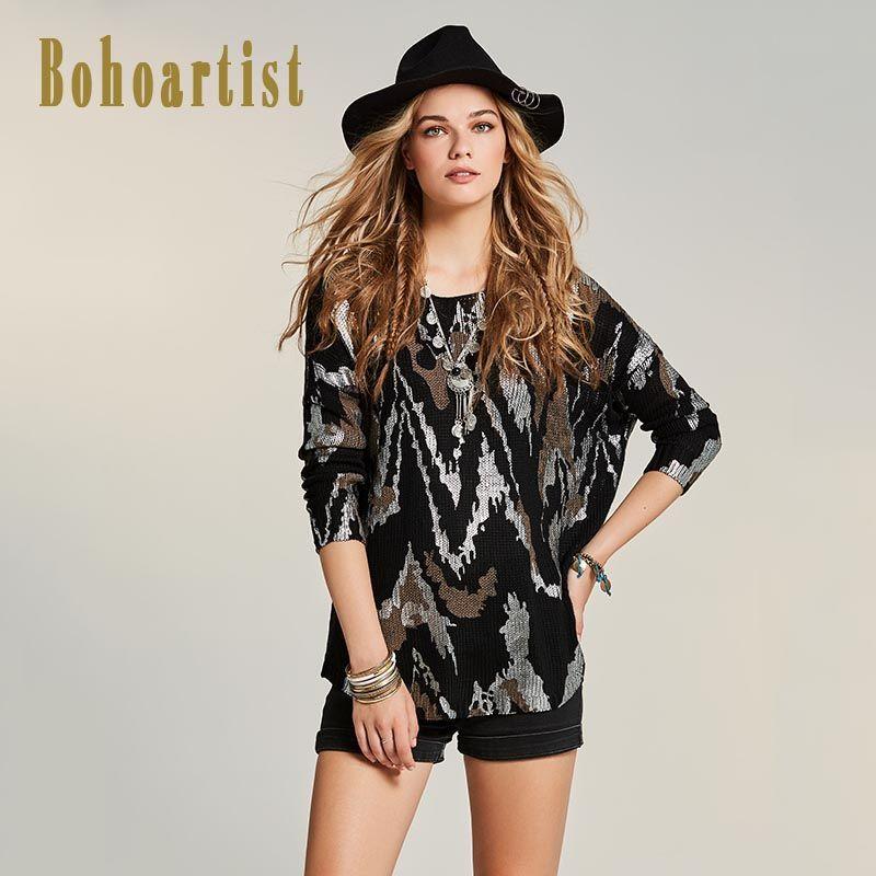 Bohoartist Women Loose Sweater 2017 Autumn Geometric Patchwork Black Knitwear Apparel O Neck Pullover Ladies Knitwear Sweaters