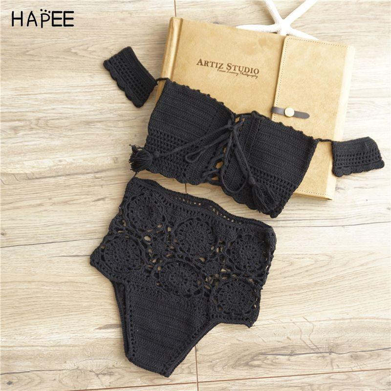 Outre De L'épaule Femmes Blanc Noir Maillots de Bain Tricoté Bikini Crochet Crop Top Sexy Taille Haute creux Out Crochet Maillots de Bain