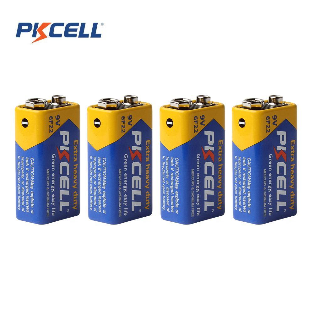 4 шт.! PKCELL батареи части 9 В батареи 6F22 одного пола Dry 9 В батареи цинка углерода батареи
