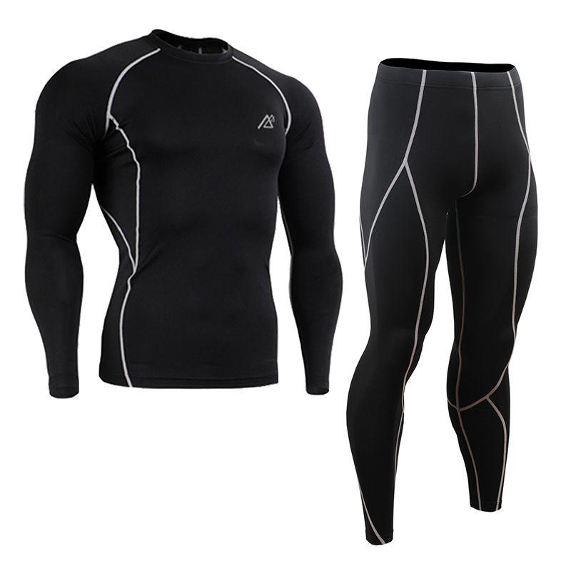 All-in-One Compression Base Layer T Shirt Men Long / Short Sleeve Jiu Jitsu Fitness Set Gym Running Tights / Leggings Plus Size