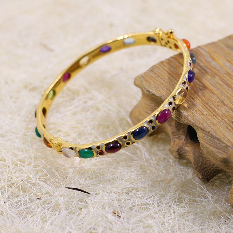 925 Silver Europe prospère éblouissant dames bracelet cloisonné multi-gem bracelet