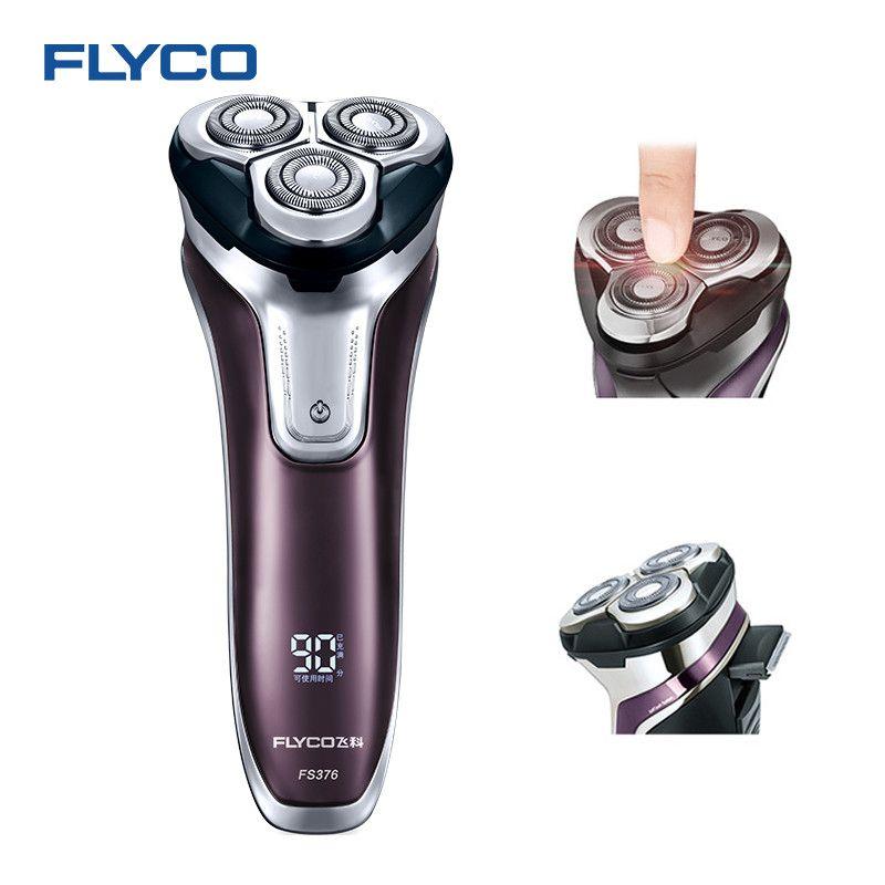 Flyco 3D tête flottante Rechargeable Portable corps lavable électrique rasoir lumière LED Charge rapide Triple lame barbeador FS376