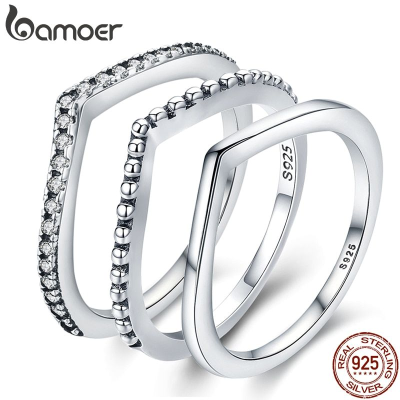 BAMOER 100% 925 Sterling Silber Wasser Droplet Klar CZ Finger Ringe für Frauen Hochzeit Engagement Schmuck Freundin Geschenk PA7649