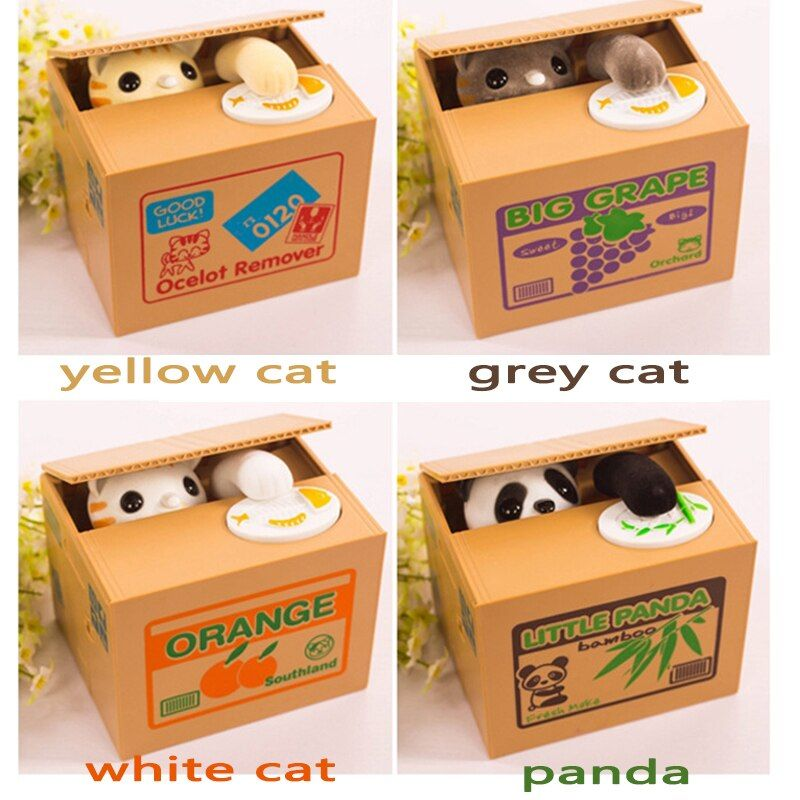 2017 Hot Sale <font><b>Automated</b></font> Cat Steal Coin Bank 1PCS Piggy Bank Moneybox Money Saving Box Gifts digital coin jar alcancia cofre