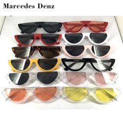 2019 уникальные женские солнцезащитные очки с полурамкой кошачий глаз, брендовые дизайнерские модные женские розовые оттенки/прозрачные лин...
