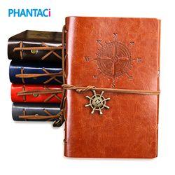 Rétro Vintage En Cuir Couverture Cahier Vierge Journal Pirate Conception Papier Note Livre Remplaçable Voyageur Bloc-Notes Papeterie Suppl