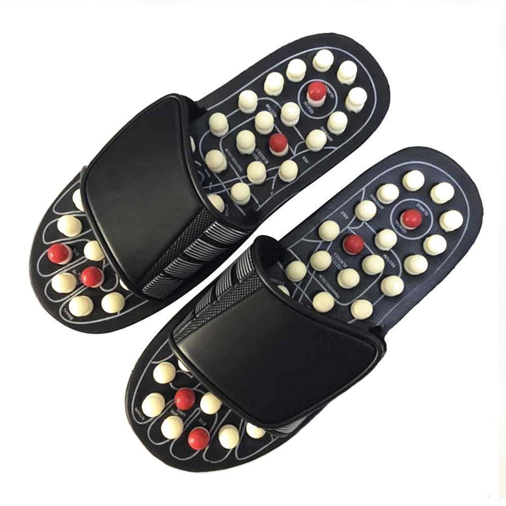Acupuncture Relaxation saine homme et femmes une paire de pieds pantoufles sandales réflexe Stress rotatif pied Massage chaussures