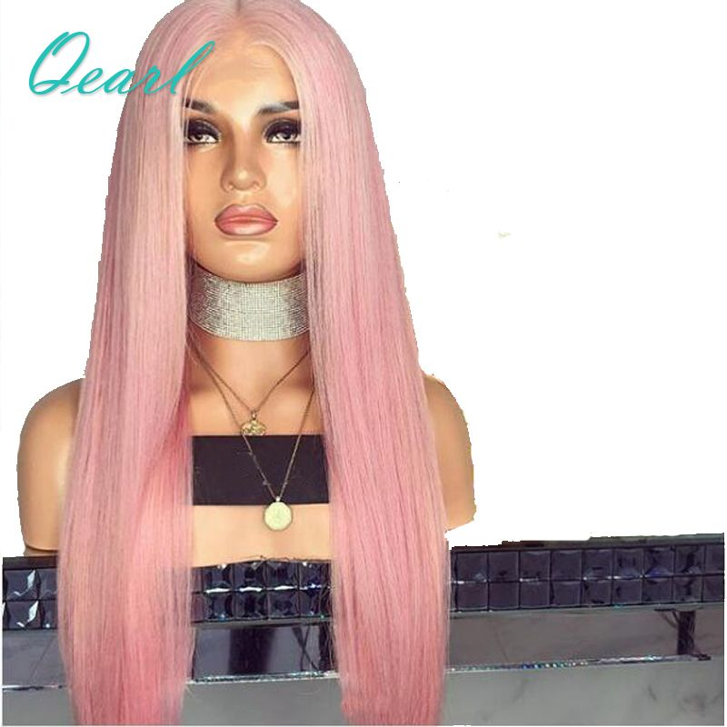 Pink Silky Straight Full Lace Human Hair Wigs 180% Density Pre plucked With Baby Hair Brazilian Remy Hair Full Lace Wig Qearl