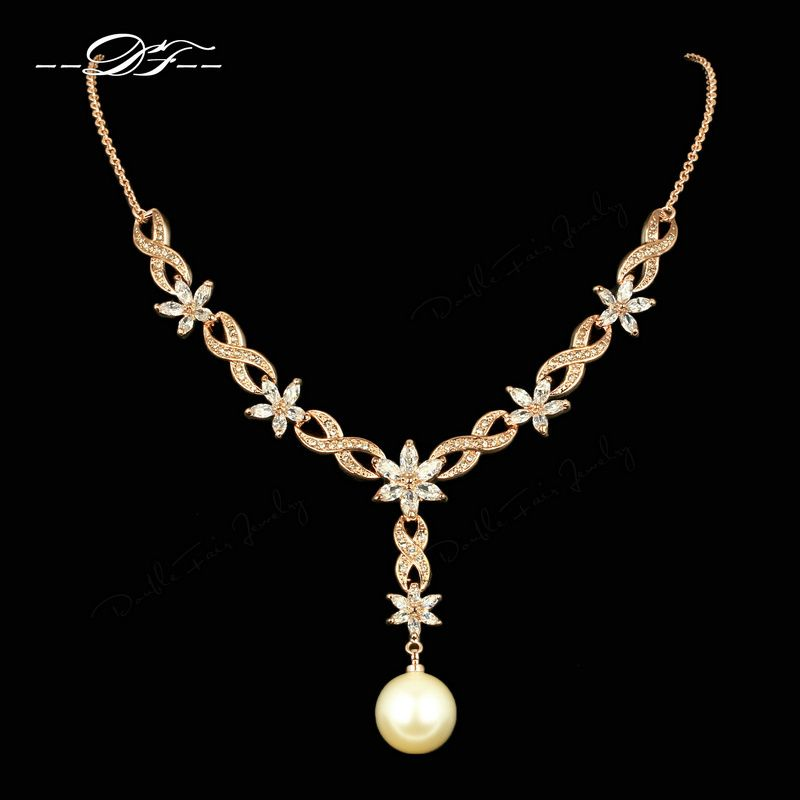 Vintage Simulated Pearl Necklaces & Pendants Rose Gold Color Cubic Zirconia Wedding/Party Jewelry for Women Wholesale DFN543