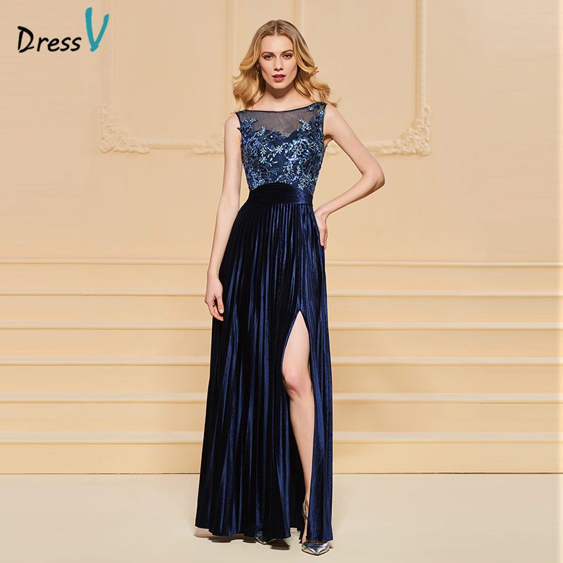 Dressv evening dress scoop neck a line beading button lace pleats split-front wedding party formal dress evening dresses