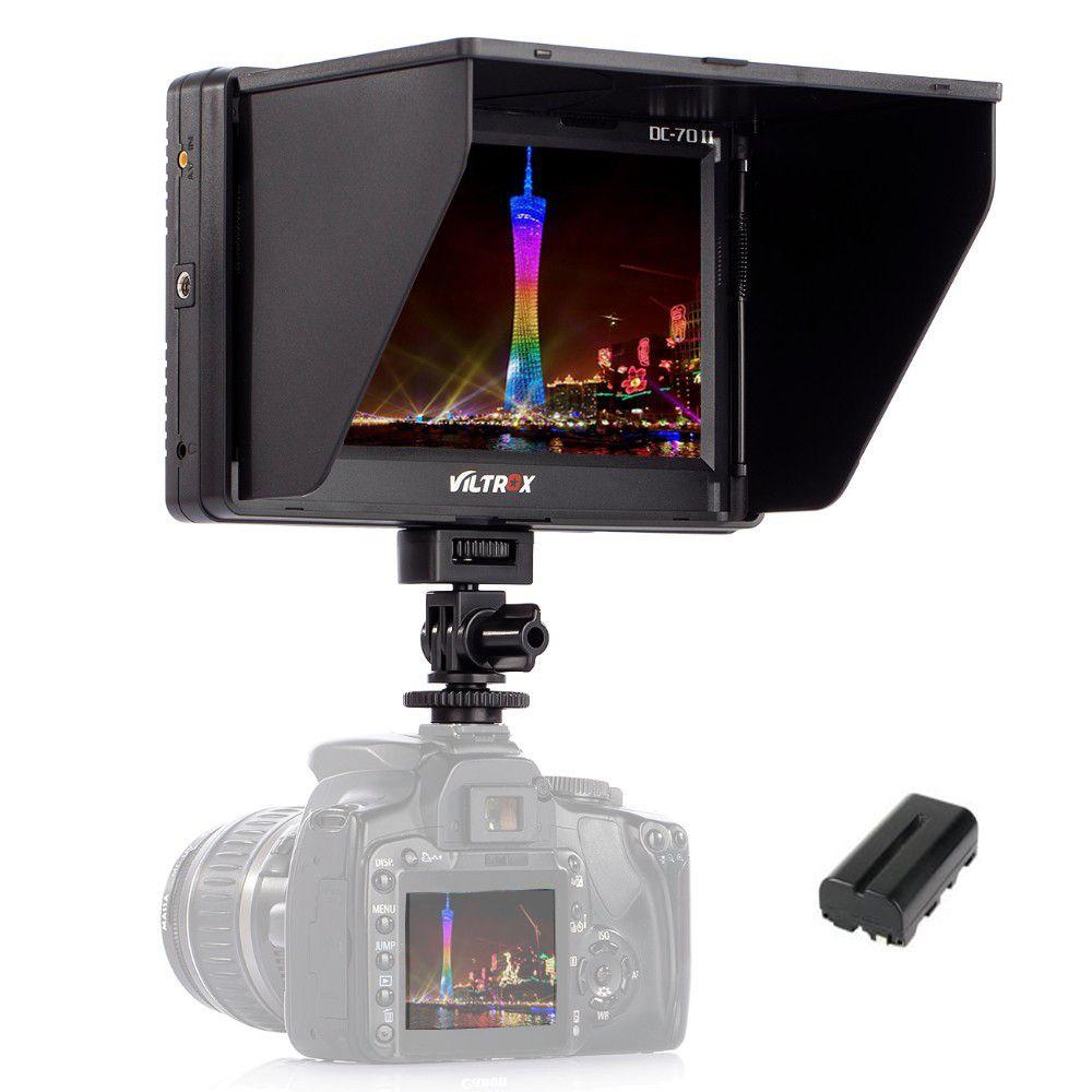 Viltrox 7 ''dc-70ii Clip-On TFT HD ЖК-дисплей 4 К Камера видео Мониторы Дисплей HDMI AV Вход для canon цифровых зеркальных фотокамер Nikon bmpcc + аккумулятор