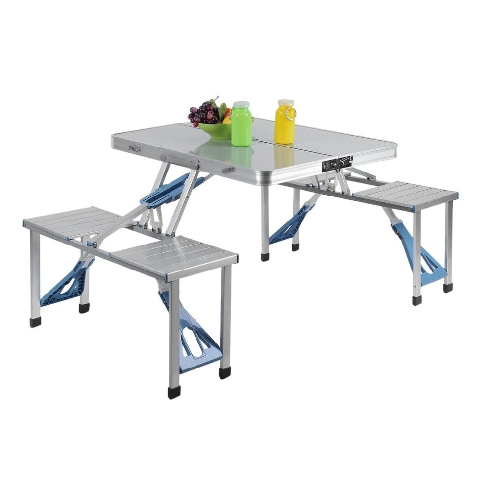 (Ship From US) Integrated Outdoor Garden BBQ Aluminum Portable Folding All-in-one Camping Picnic Table with 4 Seats Suitcase