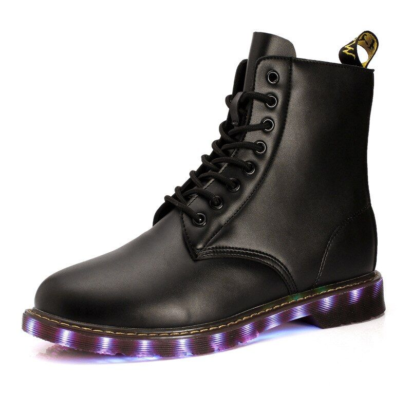 SYTAT Hombres 7 Colores LED Luminoso de Alta superior Cortó los zapatos ocasionales Zapatos para Adultos de recarga Luces LED de arranque de la moda de neón sólido baske