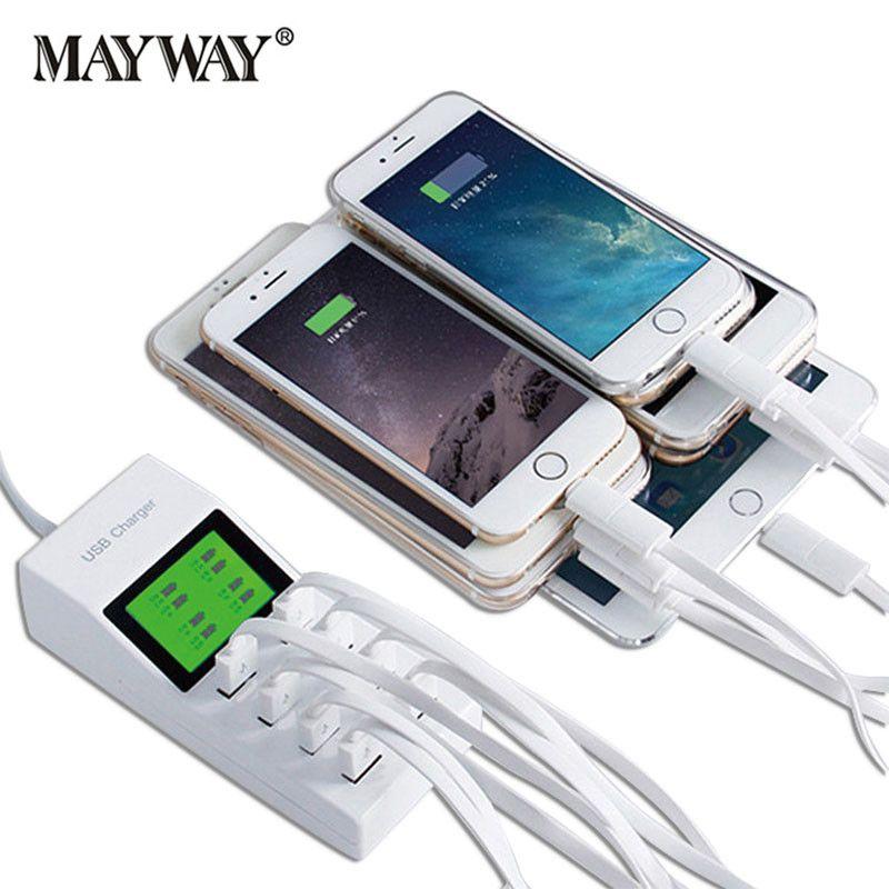 Netzteil EU UK US Steckdose Schnellladung 8 USB Ports Anzeigen Reise AC DC Netzteil Ladegerät Buchse Für xiaomi iphone