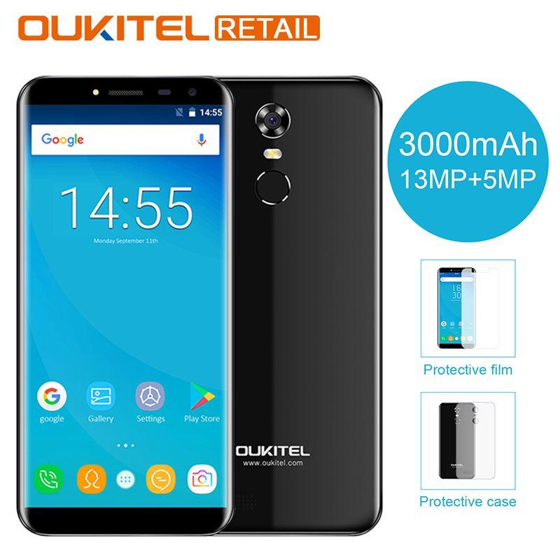 Oukitel C8 3G 5.5 Inch mobile phone Android 7.0 2GB RAM 16GB MT6580 Quad Core 18:9 Display 3000mAh 13MP Cam Fingerprint