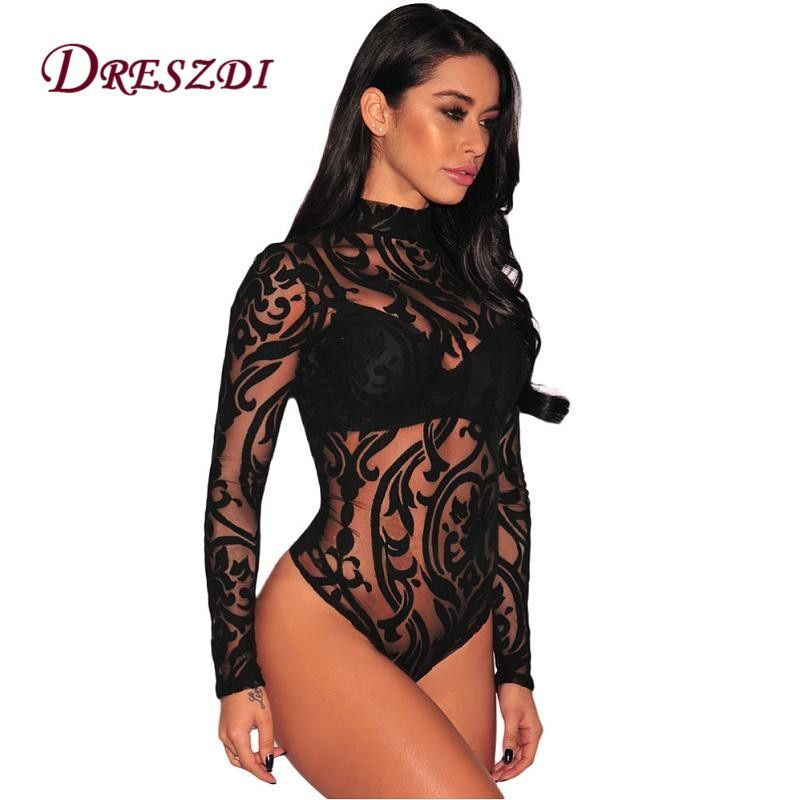 Dreszdi 2017 Autumn High Neck Sheer Mesh Printed Bodysuit Women Sexy Lace Body Jumpsuit Long Sleeve Bodycon Romper Overalls