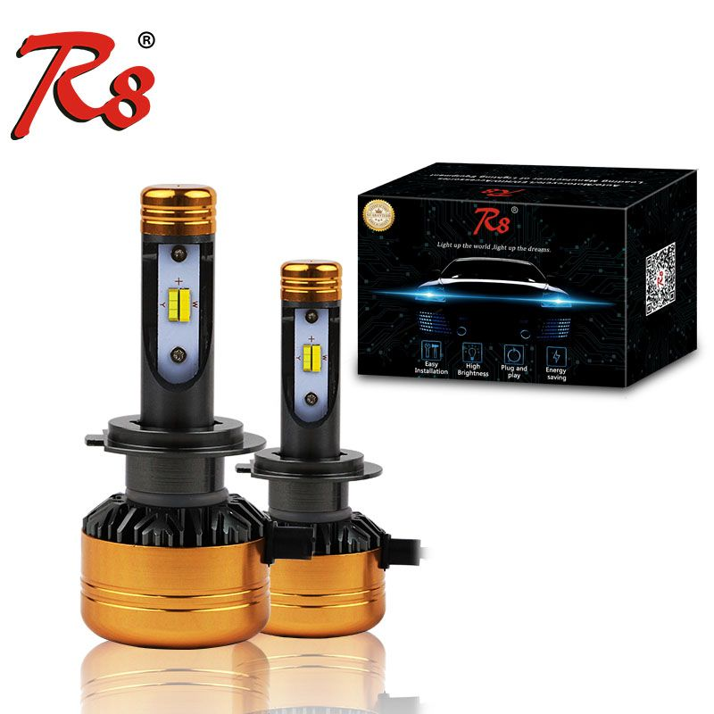 R8 Car Tricolor 3Color LED Headlight Z5 H1 H4 H7 H11 HB3 HB4 50W 5800LM 3000K 4300K 6000K Yellow White Dual Two Color LED Bulbs