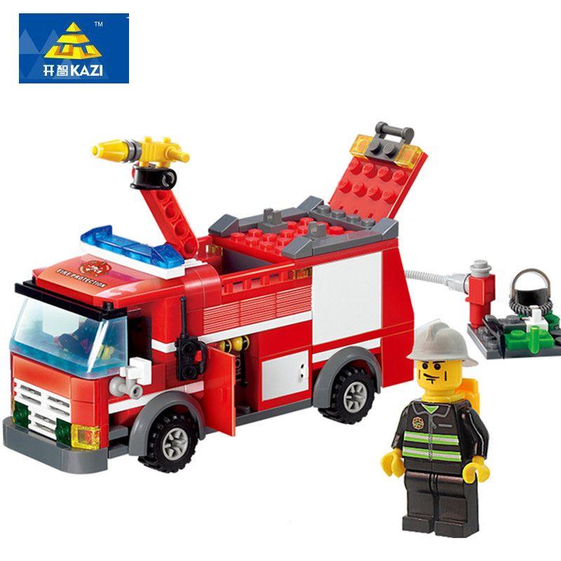 KAZI 8054 blocs de Construction de camion de pompier modèle 206 + pcs éclairer éducatif bricolage Construction briques jouets pour enfants