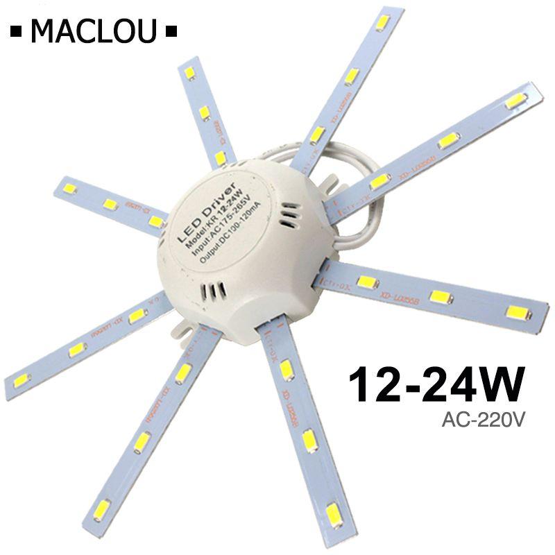 Hohe Helle Led-deckenleuchte Rohr Energiesparende Innen Lampe Plafon 12 watt 16 watt 24 watt 220 v PCB bord Geändert Birne Platte Octopus Lichter