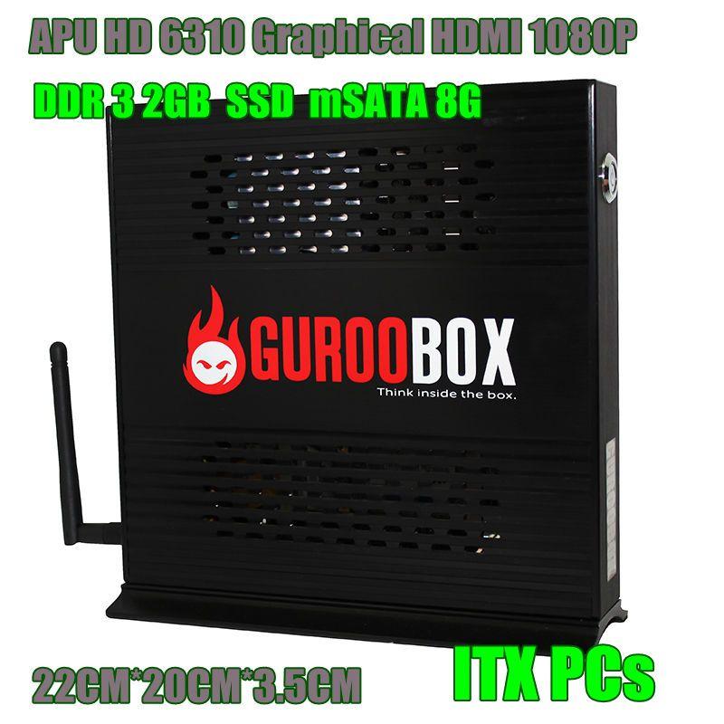 Full HD Dual-core 1.6GHz 8G SSD 2G RAM Mini Desktop Computer WIFI 150mb/s Aluminum Chassis ITX Architecture