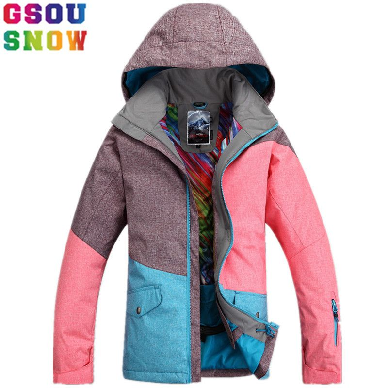 GSOU SNOW Brand Ski Jacket Women Winter Snowboard Jacket Waterproof 10K Breathable 10K Female Skiing Snowboarding Sport Clothing