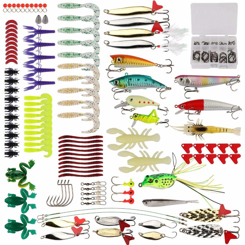 Goture 175pcs Lure Kit Minnow/Popper/Crankbait/Pencil/VIB/Spinner Metal Spoon Soft Lure Fishing Lure Set with Tackle Box
