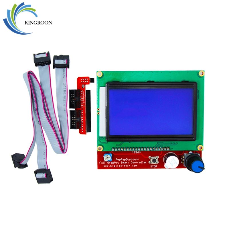Ramps 1.4 LCD Smart Control Motherboard RAMPS1.4 Display Monitor Blue Screen Parts Controller Panel Board <font><b>Cable</b></font> 3D Printers Part