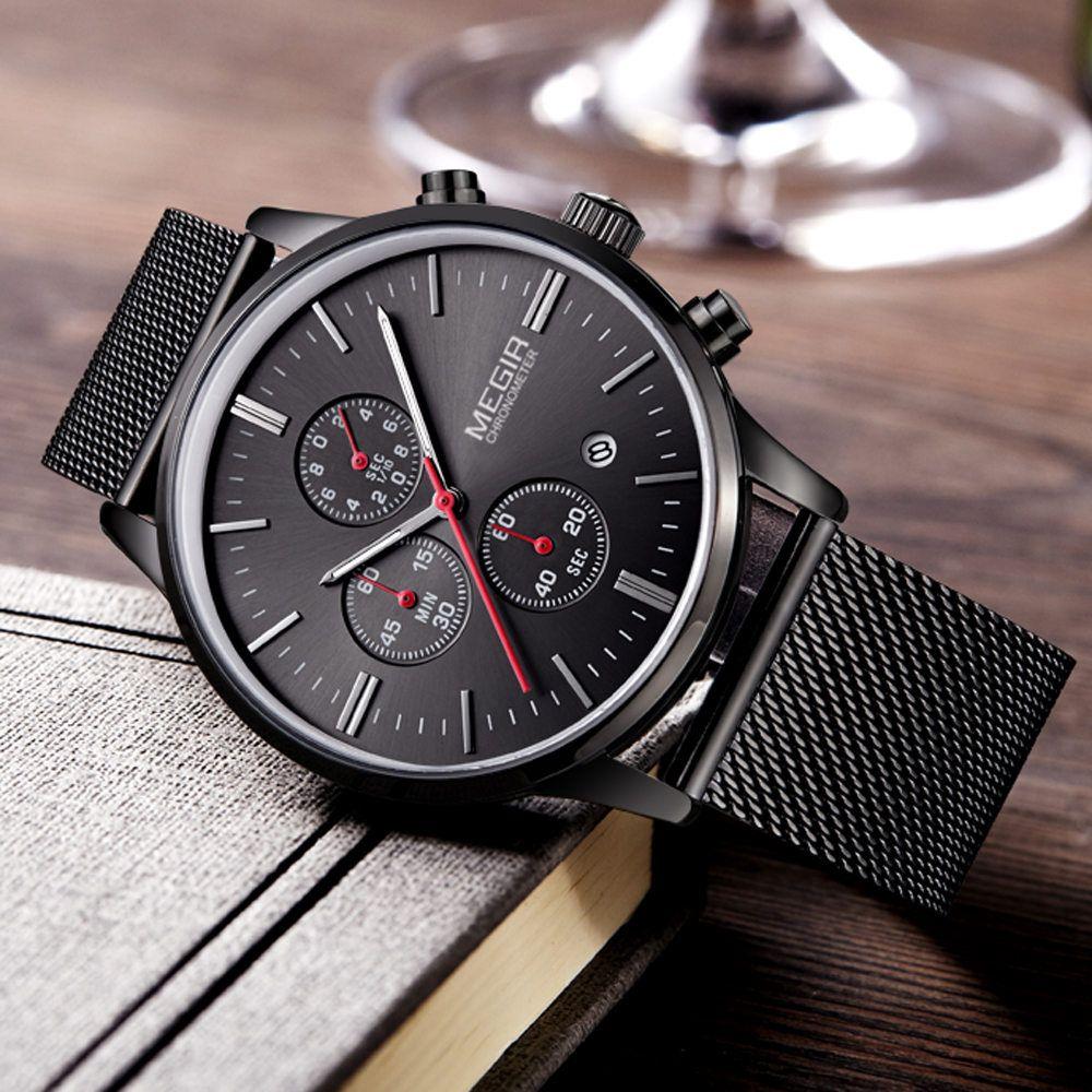 MEGIR herren quarzuhren edelstahlgewebe band schwarz chronograph schlanken gurt herrenuhr top-marke relogio masculino