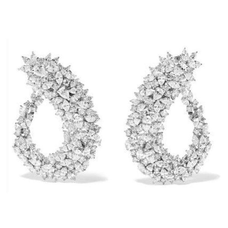 GODKI Famous Design Luxury Popular Geometry Flower Full Mirco Paved Cubic Zirconia Wedding Earring Fashion Jewelry