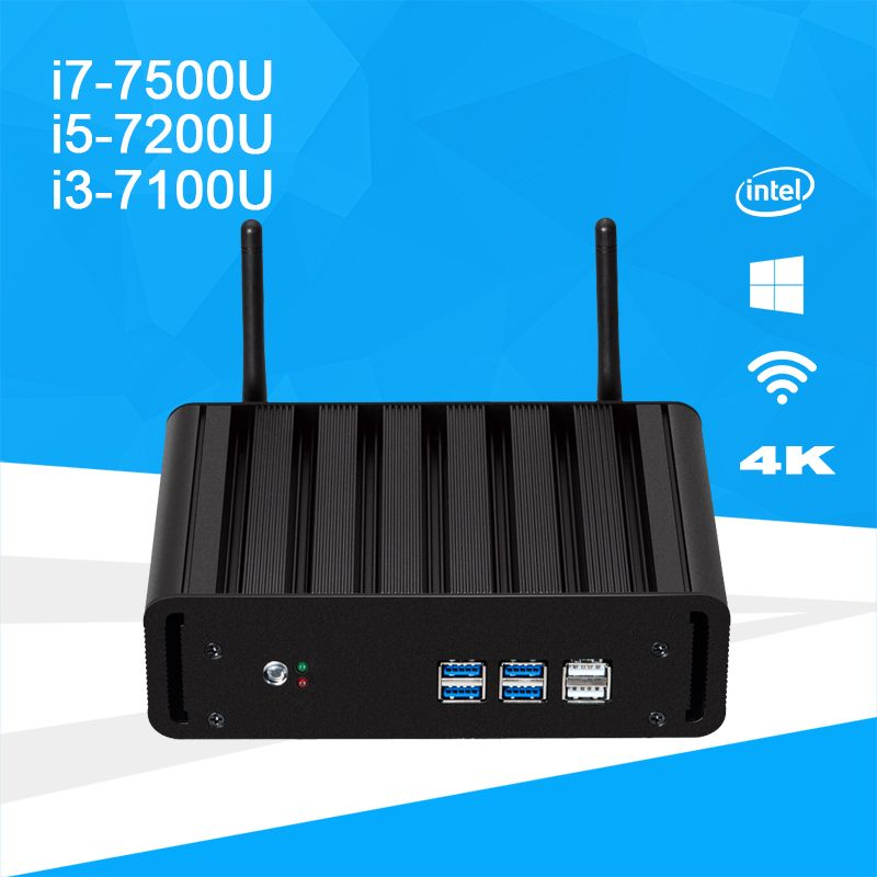 Windows 10 Mini PC i7 7500U i5 7200U i3 7100U DDR4 RAM mSATA Mini Desktop PC 4K UHD Support HDMI VGA WiFi Intel HD Graphics 620