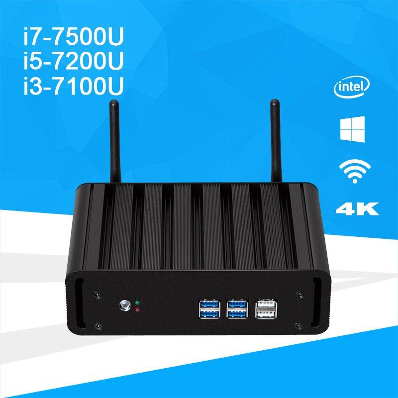 Windows 10 Mini PC i7 7500U i5 7200U i3 7100U DDR4 RAM mSATA Mini Desktop PC 4K UHD Support HDMI VGA WiFi Intel HD Graphics 620