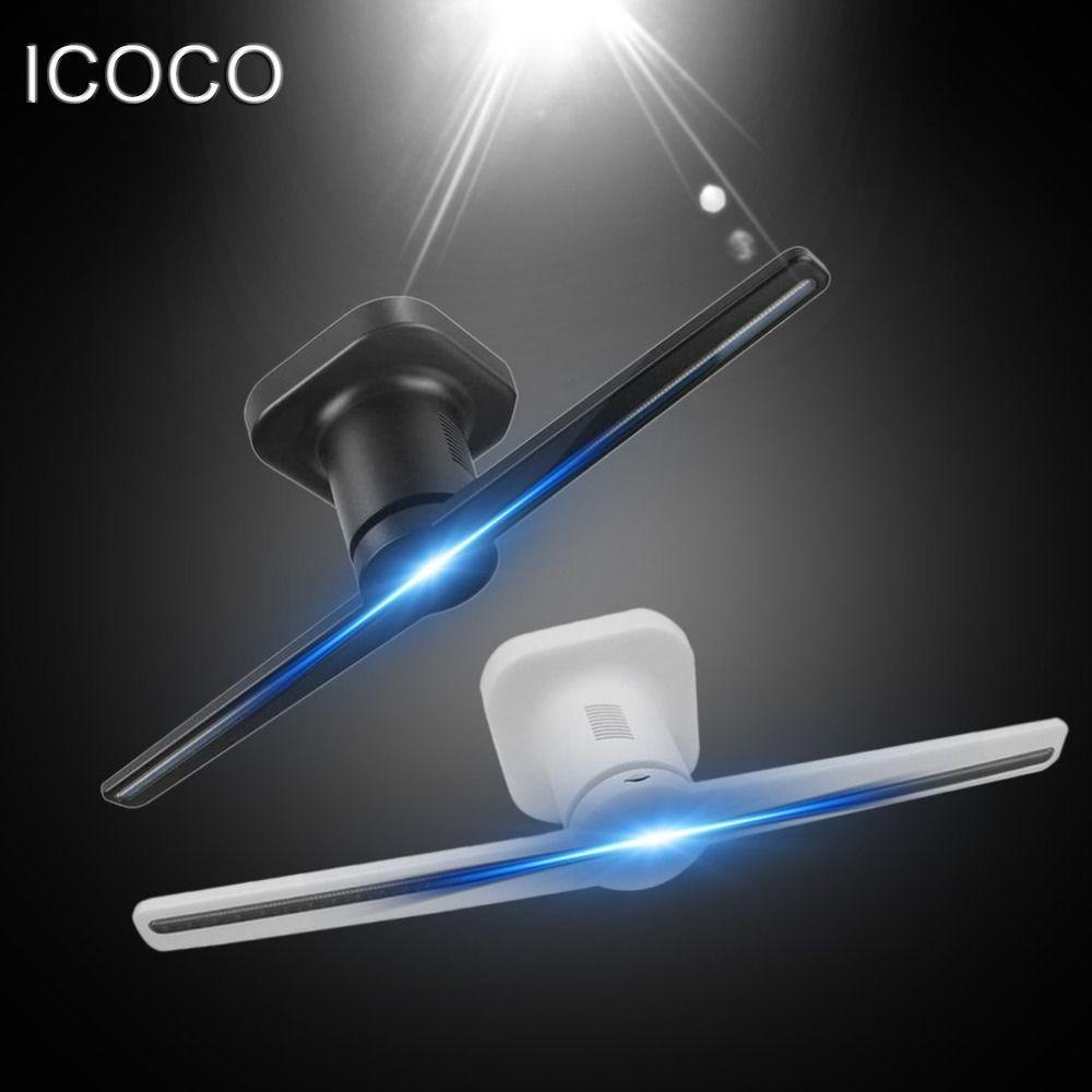 ICOCO LED Holographische Projektor Tragbare Hologramm Player 3D Holographische Dispaly Fan Einzigartige Hologramm Projektor Schwarz/Weiß