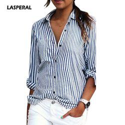 LASPERAL 2019 New Autumn Women Striped Long Sleeve Shirt Turn-Down Collar Loose Blusas Femme Casual Tops Sexy Tee Plus Size 3XL