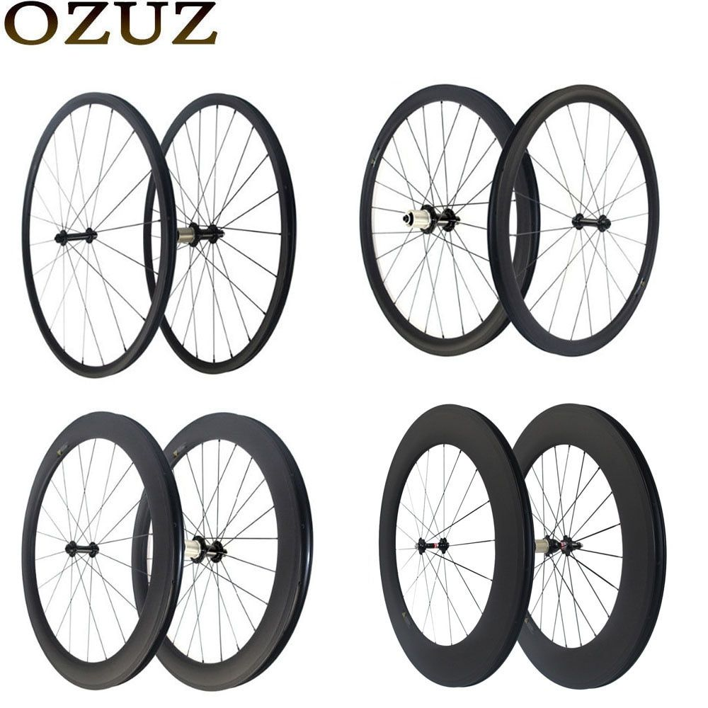 Factory Sales OZUZ Super Light 24mm 38mm 50mm 88mm Clincher Tubular Road Bike Carbon Wheelset Straight Pull Carbon Fiber Wheels