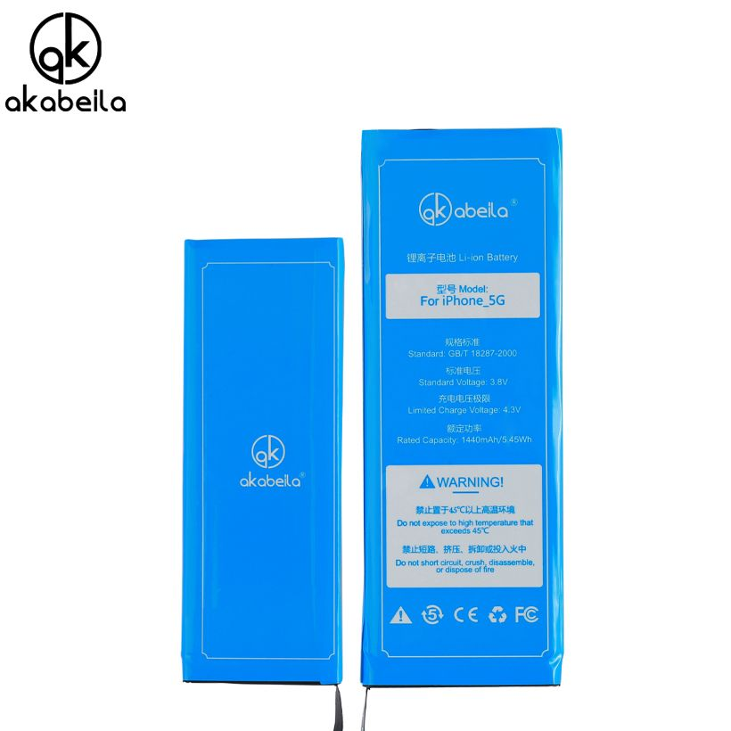 AKABEILA 2017 Original Phone Battery For iphone 5 5G Real Capacity 1440mAh With Tools Kit Replacement Mobile Batteries 0 cycle