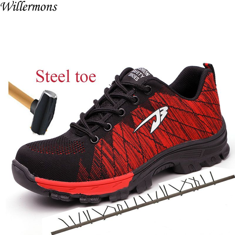 Breathable Mesh Outdoor Men's Industrial & Construction Steel Toe Work Shoes Men Military Army Safety Boots Shoes Puncture Proof