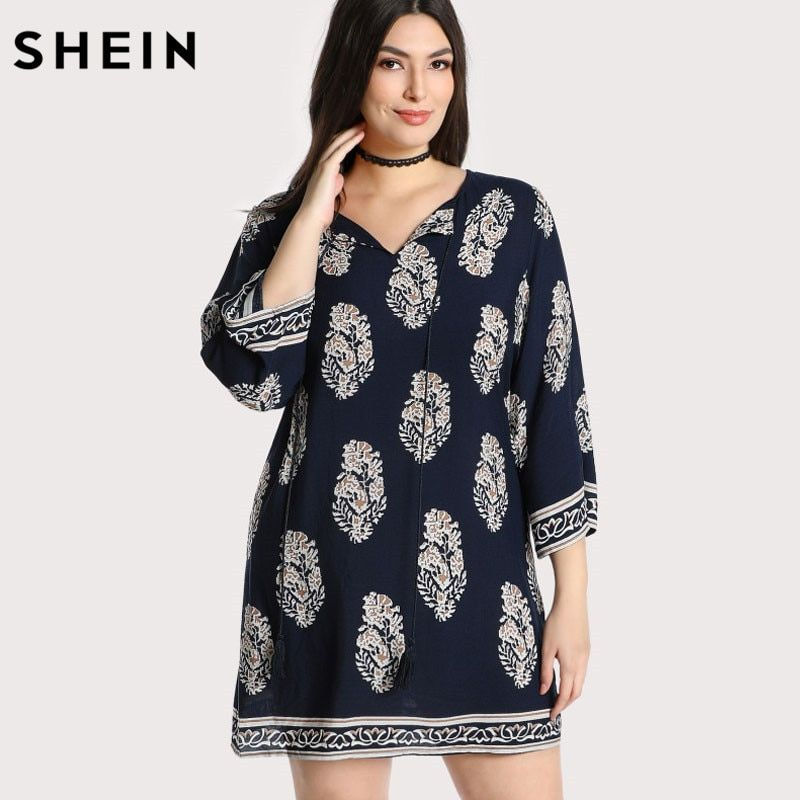 SHEIN Multicolor Plus Size Dress New Year Spring Summer Tribal Women Casual V-neck Floral Fringe Large Size Mini Dress
