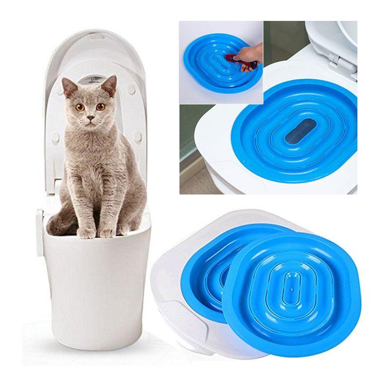 Hot Sale Plastic Cat Toilet Training Kit Litter Box Puppy Cat Litter Mat Cat Toilet Trainer Toilet Pet Cleaning Training Supply