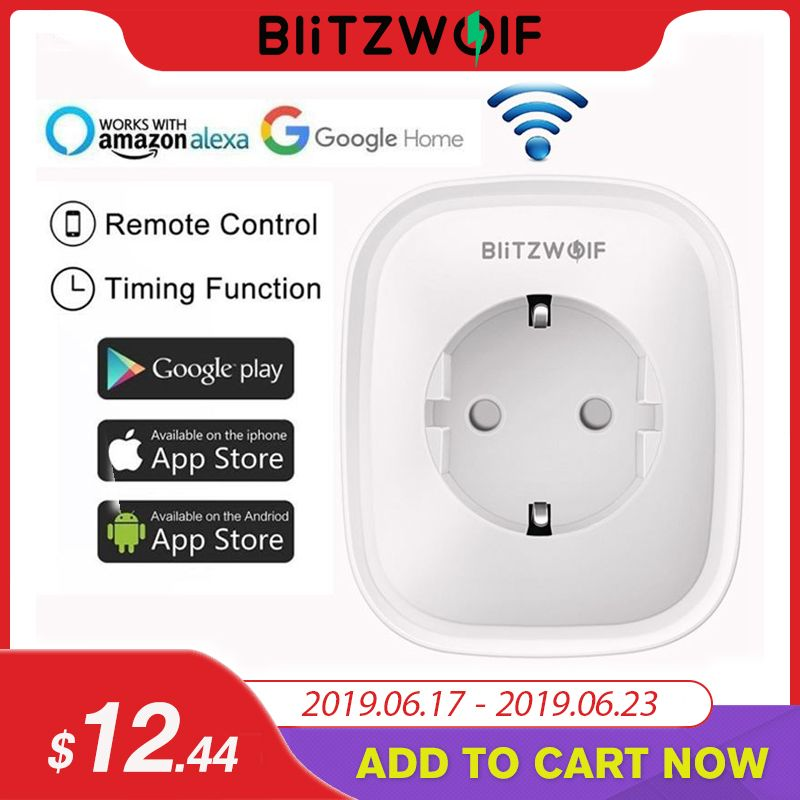 BlitzWolf BW-SHP2 WIFI Smart Socket EU Plug 220V 16A Remote Control Smart Timing Switch Work For Amazon Alexa/Google Assistant