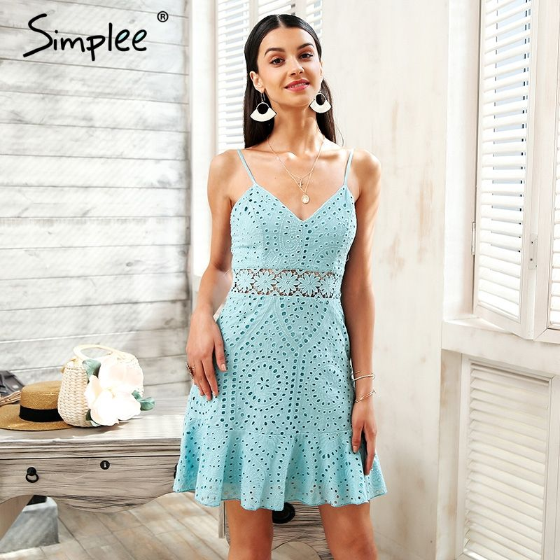 Simplee Strap <font><b>hollow</b></font> out lace dress women Cotton embroidery casual dress party 2018 Short summer dress female robe vestidos
