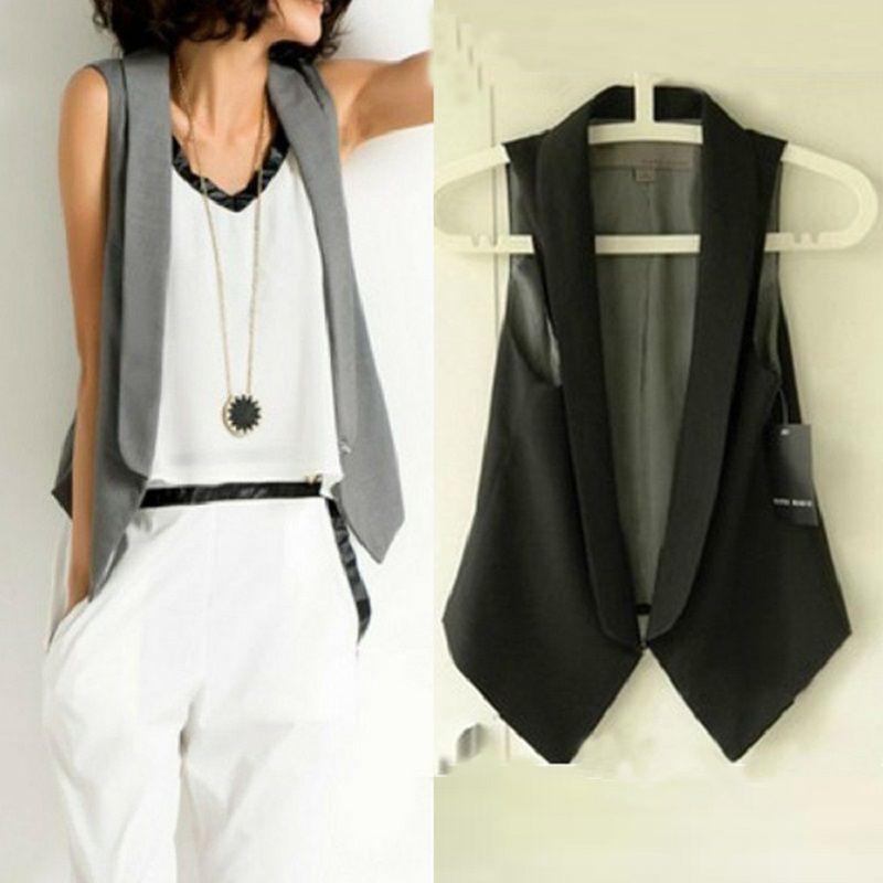 2017 New arrival spring female suit vest black grey sleeveless jackets for women slim waistcoat Tops plus size S~3XL vest office
