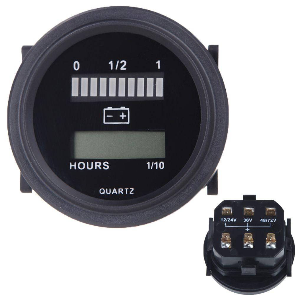 DC 12V/24V/36V/48V/72V LED Digital Battery Status Charge Indicator with Hour Meter Gauge Gauge Meter for Car Truck Boat