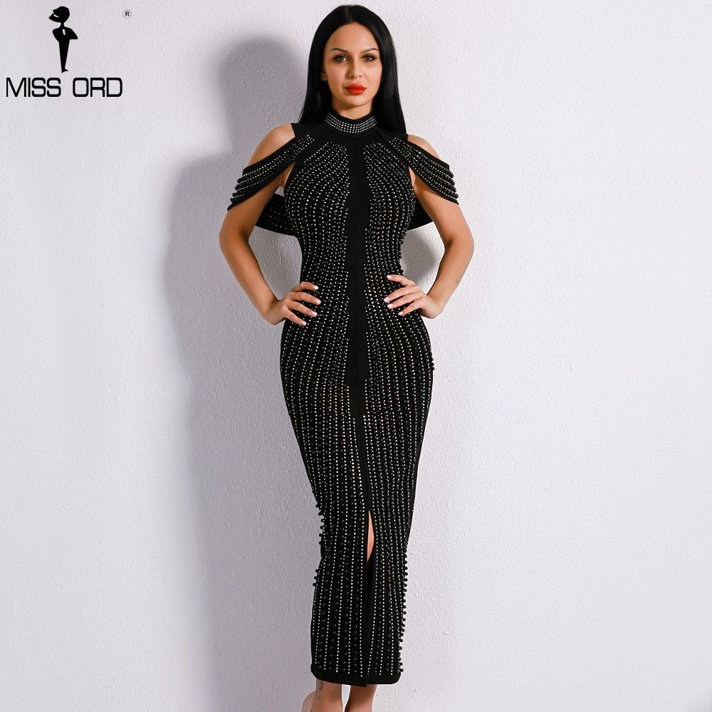 Missord 2018 Sexy New Off Shoulder White Beads Elegant Dresses Female Rivet Middle Split Bodycon Mid-calf Dress FT8881-1
