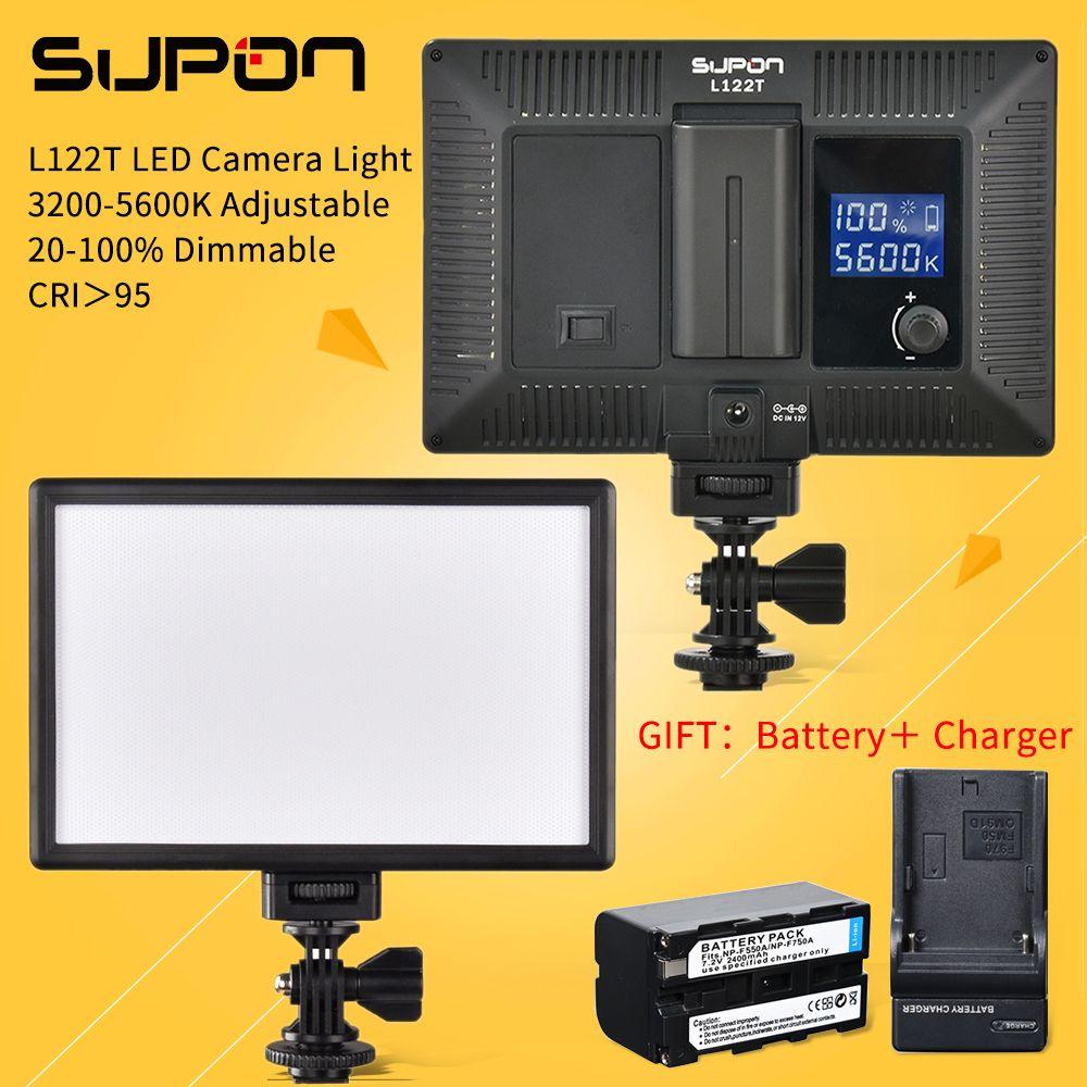 Supon l122t LED 3300 К-5600 К ультра тонкий ЖК-дисплей Би-Цвет и затемнения студия видео Лампа Панель для Камера видеокамера + NP-F550 Батарея