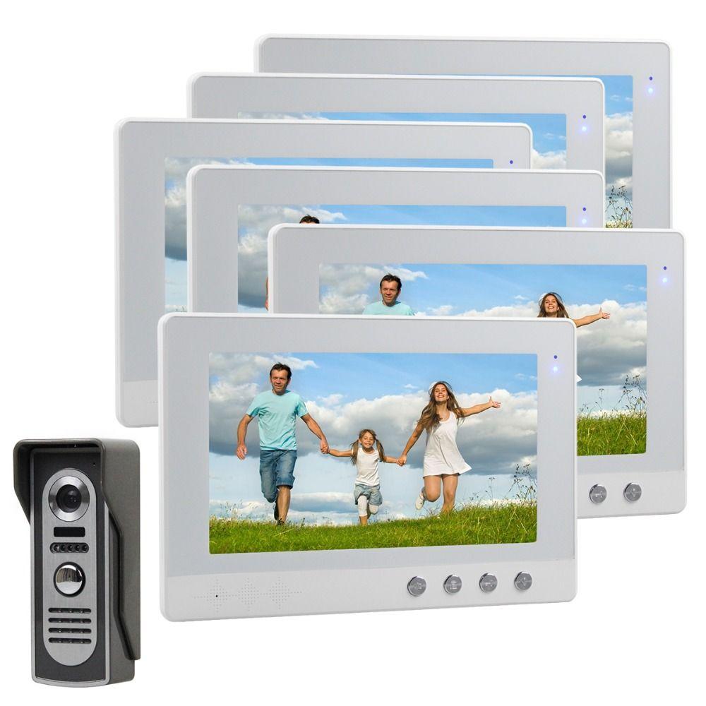 DIYSECUR 10 inch Video Door Phone Video Intercom Doorbell Home Security System Camera IR Night Vision 1 Camera 6 Monitors