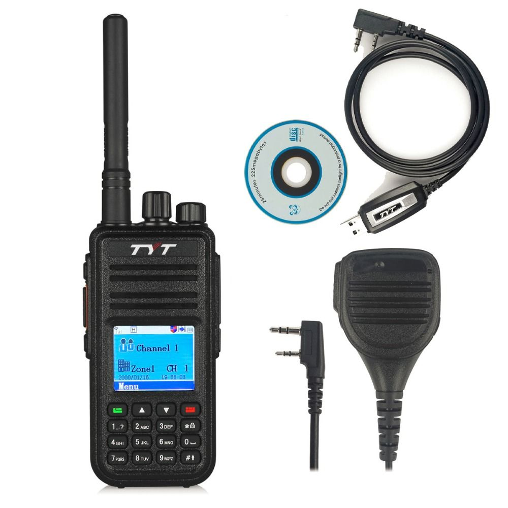 TYT MD-380 UHF 400-480MHz DMR Digital Radio 1000 Channels Walkie Talkie with Programming Cable&CD md380+ Original Remote Speaker