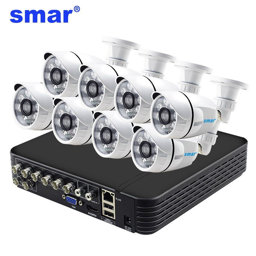 Smar Home Security Video Surveillance Kit 8 Channel 960H CCTV DVR HDMI Output 8pcs 1000TVL Outdoor Camera IR-CUT Filter Metal