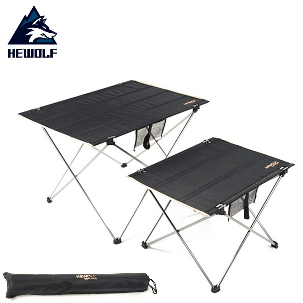 Hewolf Outdoor Ultralight Portable Table Aluminum Alloy Oxford Cloth Folding Table for Camping Barbecue Picnic